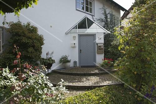 offener vorgarten mit kugel-ahorn und buchs-hecke – bild kaufen, Wohnideen design