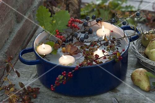 blauer emaille topf mit schwimmkerzen cotoneaster bild. Black Bedroom Furniture Sets. Home Design Ideas
