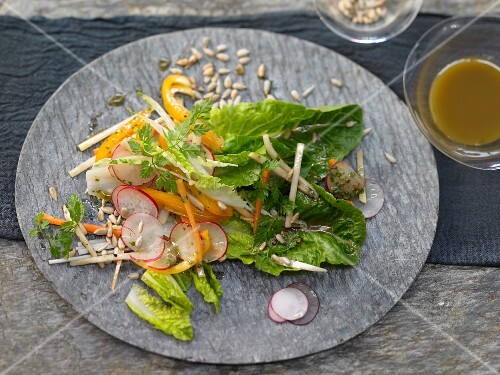 Crudité salad of raw vegetables with a chervil and anchovy vinaigrette