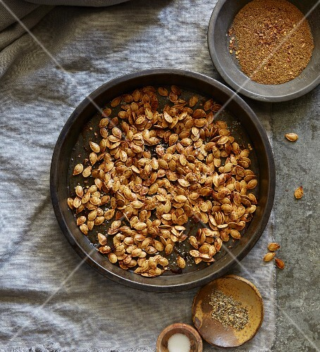 Roasted pumpkin seeds with spices (seen from above)