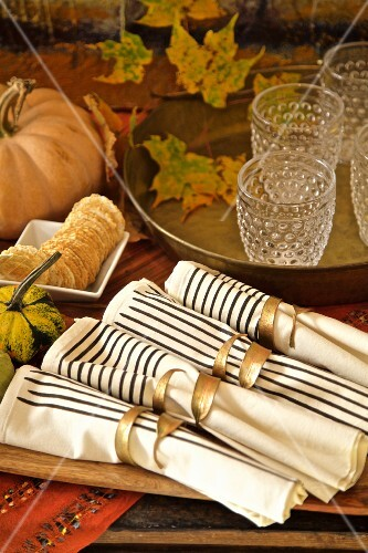Fall diner celebration in the country, elements of a fall table