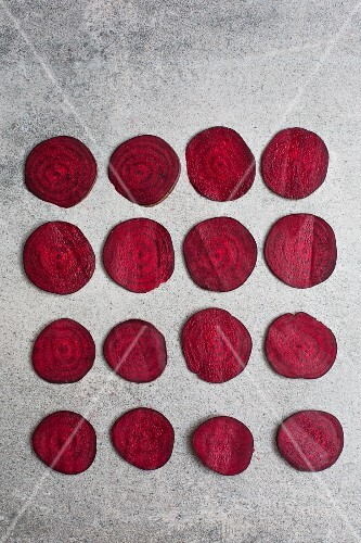 Slices of beetroot (seen from above)