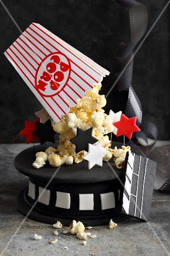 A popcorn cake with fondant icing for movie buffs