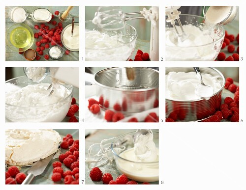 How to make pavlova with berries (meringue cake with fresh raspberries and yoghurt, Australia)
