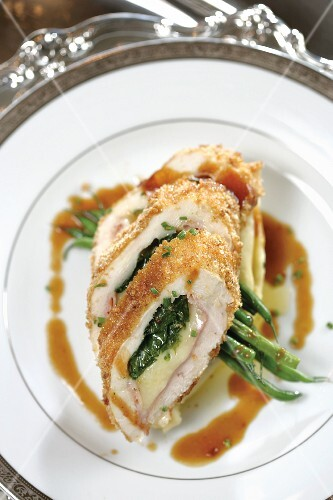 Chicken Roulade on silver-rimmed china