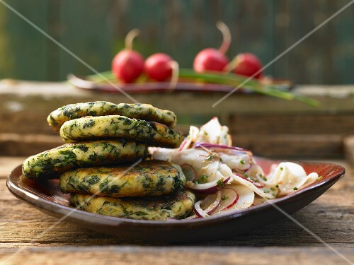 Quark biscuits with two varieties of radishes in a mustard vinaigrette