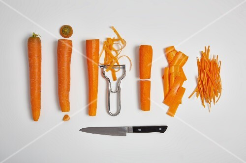 Carrots, peeled and chopped (step by step)