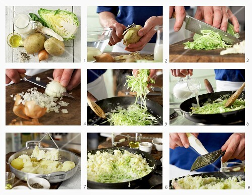 How to make mashed potatoes with pointed cabbage and horseradish