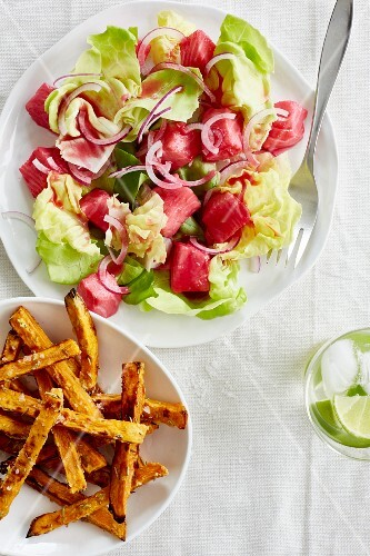 Salmon ceviche with beetroot and sweet potato fries