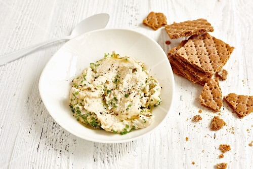 Chive and giant bean spread with tofu and honey
