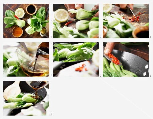 How to make pan fried pak choi with sweet and spicy sauce
