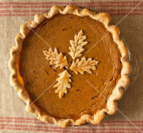 Homemade pumpkin pie with pastry elm leaves
