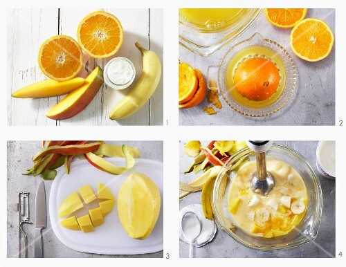 How to make a mango and banana drink with orange juice and yoghurt