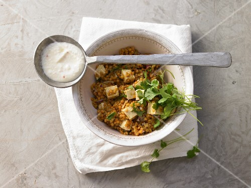 Lentils with tofu and chilli yoghurt