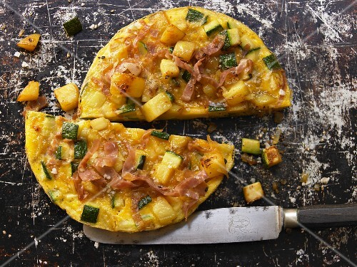 A courgette and potato tortilla with serrano ham
