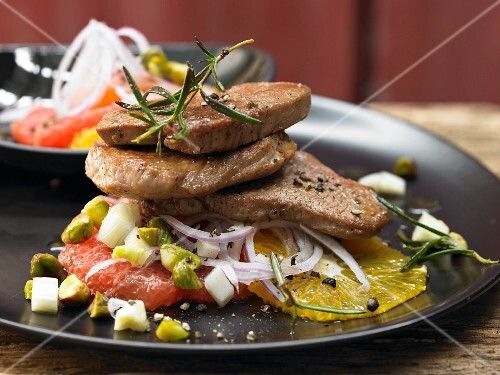 Sicilian style veal fillets with orange and grapefruit salad