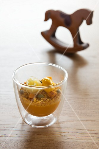 Variations of pumpkin (pumpkin cream, pumpkin biscuit and pumpkin sorbet) from the 'D'O' restaurant in Milan, Italy