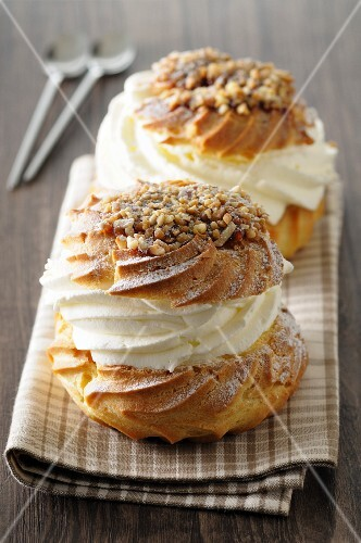 Profiteroles with cream and nuts
