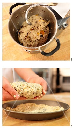 Fruit bread being kneaded and shaped