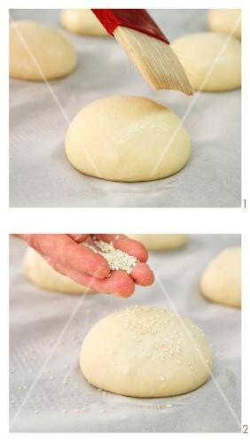 Hamburger buns being made