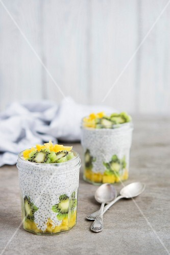 Chia Greek Yogurt Pudding with Kiwi and Mango