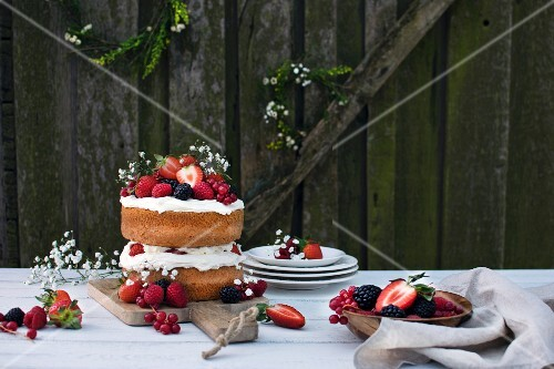 Midsummer Layer Cake with Whipped Cream and Berries