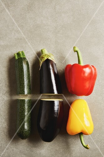 Vegetables for antipasti: courgette, aubergine and pepper (seen from above)