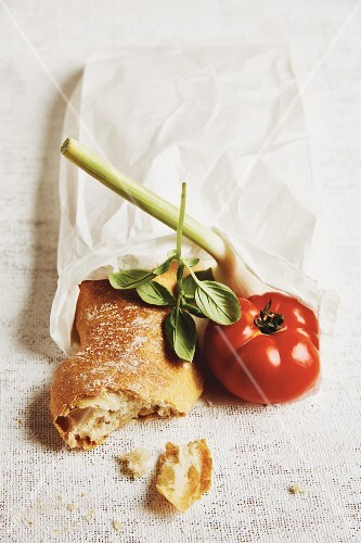 Ingredients for crostini: ciabatta, tomato, garlic and basil