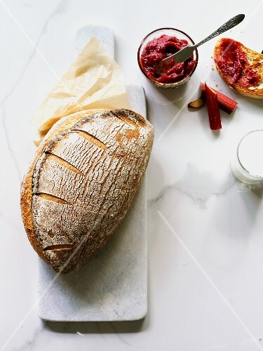 Country bread with rhubarb jam