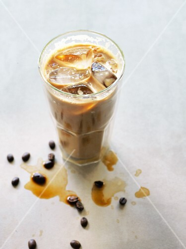 Iced coffee with ice cubes in a glass