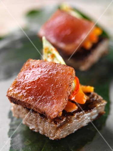 Five spice Tuna canapes stylish catering