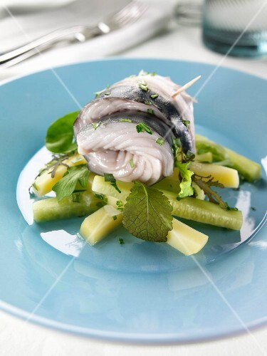 Rolled pickled mackerel on a bed of cucumber sticks
