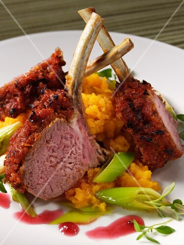 Rack of lamb with mashed swede