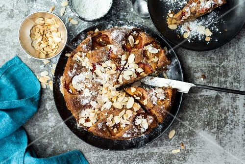 Plum and almond cake, sliced