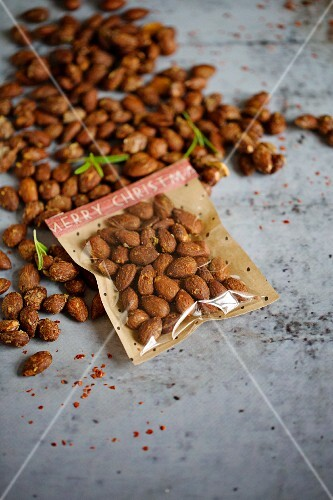 Roasted rosemary and chilli almonds, with some packaged