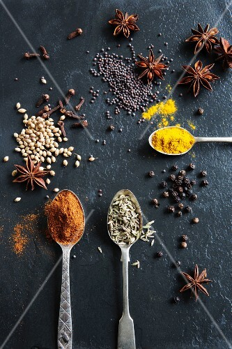 Various spices on a slate plate: peppers, cumin, star anise, coriander seed, turmeric, pepper, cloves and mustard seeds