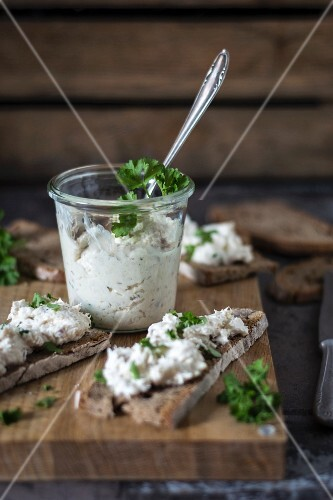 Trout cream with horseradish and parsley for spreading on bread