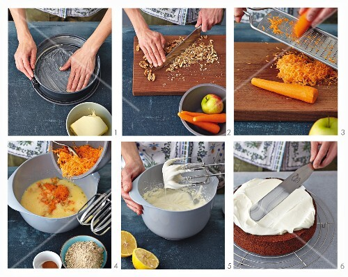 Carrot cake being made