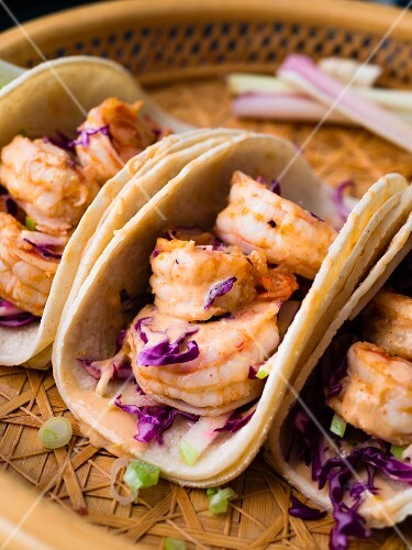 Pan Asian shrimp tacos with red cabbage and green apple slaw