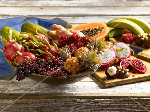 An arrangement of various tropical fruits