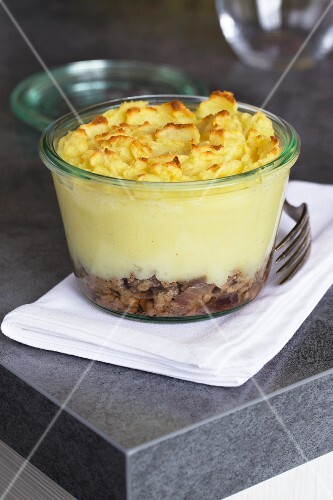 Hachis parmentier (French mince meat bake with mashed potato) in a glass dish