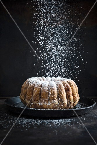 Vegan chocolate and vanilla ring-shaped 'Gugelhupf' cake being dusted in icing sugar