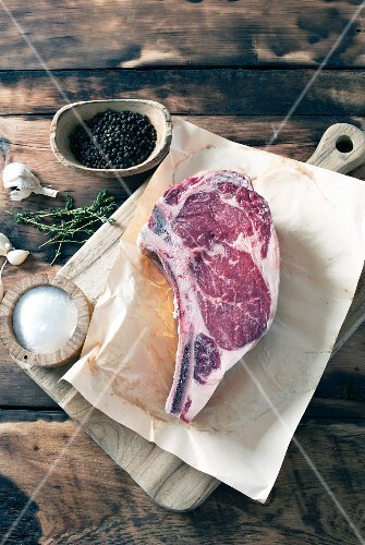 A cut of dry-aged organic beef from the butcher