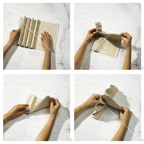 servietten falten facher arbeitsschritte zum einer serviette 2 farbig