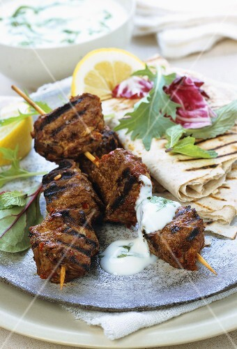 Moroccan style barbecued lamb kebabs with yoghurt sauce