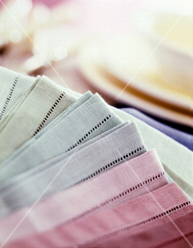 Fabric napkins in pastel colours
