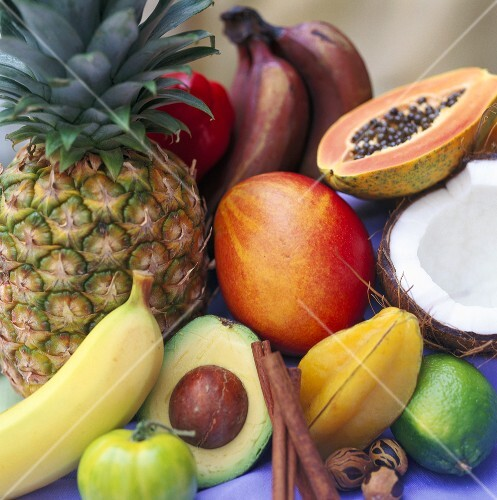 Various tropical fruits and spices
