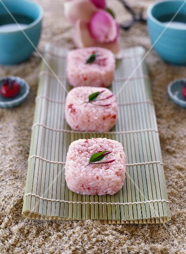 Sweet Japanese rice cakes with plums
