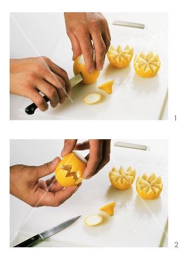 Zitrone dekorativ schneiden bild kaufen 254531 stockfood - Honigmelone dekorativ schneiden ...