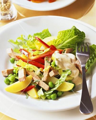 gemischter salat mit kartoffeln und putenstreifen bild kaufen 254719 stockfood. Black Bedroom Furniture Sets. Home Design Ideas